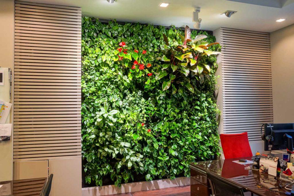 Zielona ściana w biurze firmy Red Bull