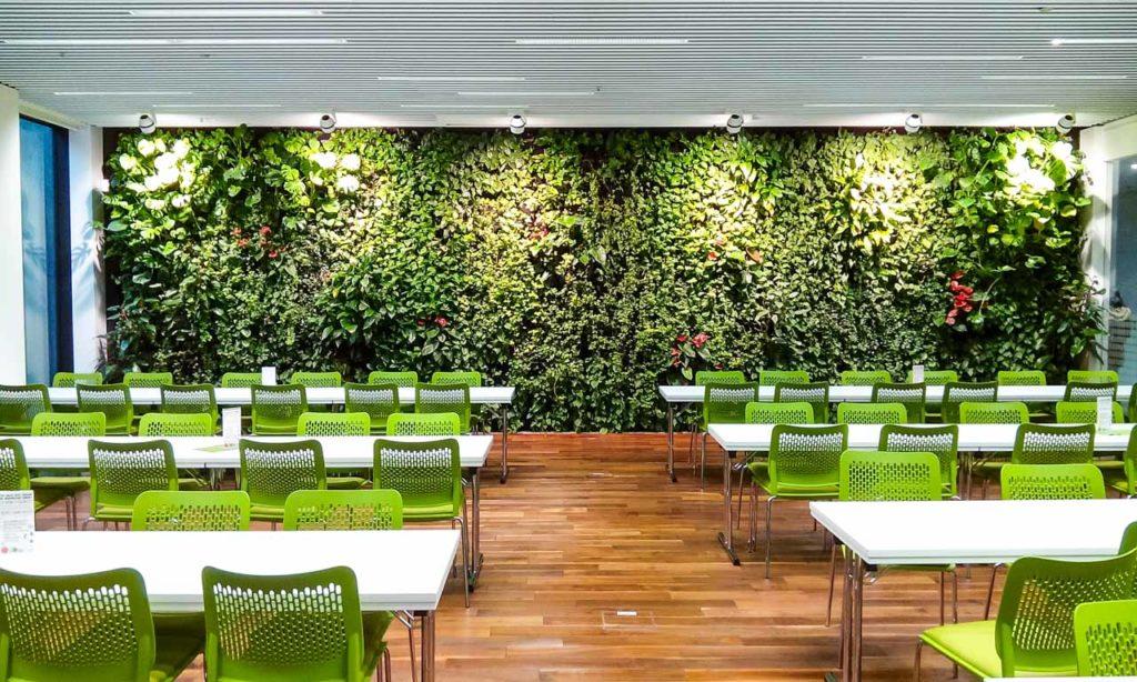 Zielona ściana w kantynie Philip Morris